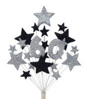 Number age 60th birthday cake topper decoration in silver and black - free postage